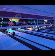 Neon lit bowling lanes