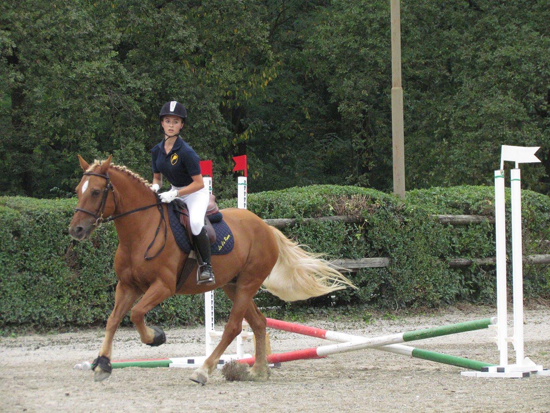 ragazza durante una lezione di equitazione