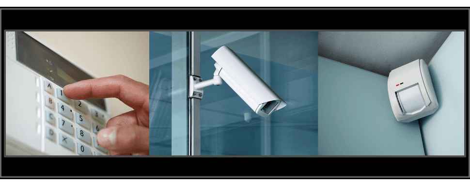 A security keypad, CCTV camera and motion sensor