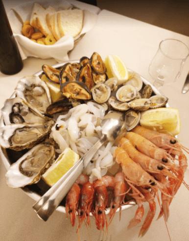 cozze, gamberi, ostriche, ristorante di pesce, crudi di mare