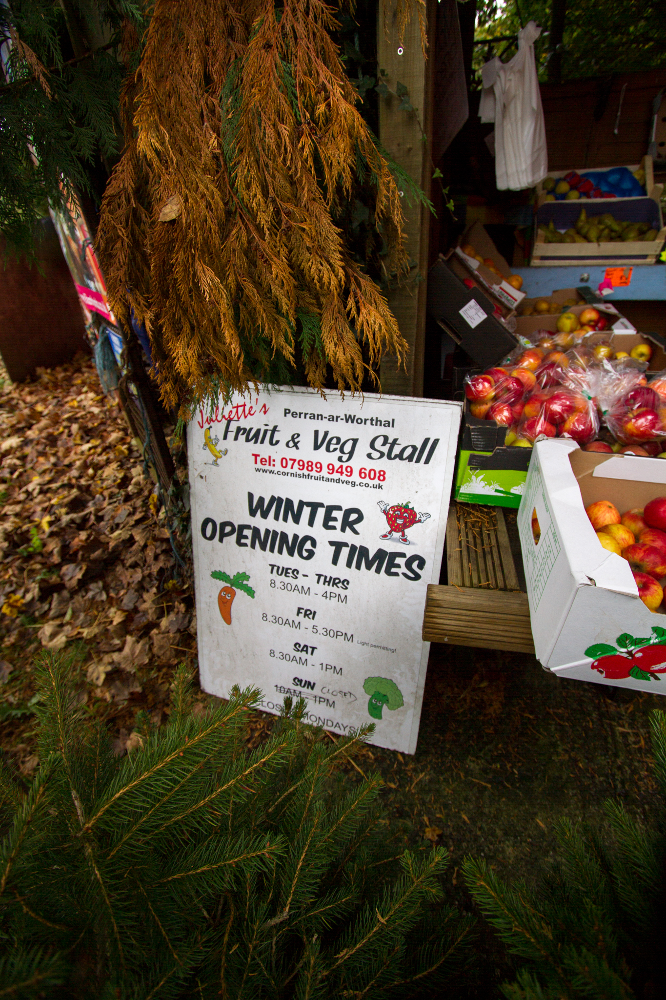 A sign for the winter opening times of the Fruit and Veg stall, placed amongst some of the trees and fruits in the stall. Perran-ar-Worthal, Cornwall. 30.10.15.