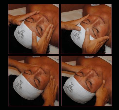 Il massaggio distensivo antirughe si estende al collo.