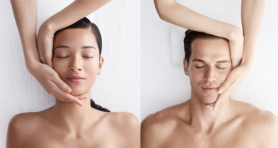 woman and man having neck manipulation