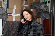 A lady speaking on a mobile phone