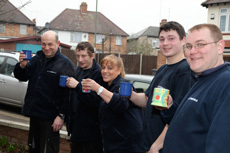 The team enjoying a cup of tea