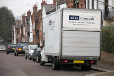 A removal van parked in a street