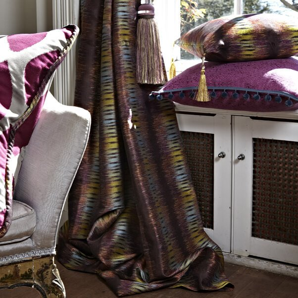Matching curtain, tassle and cushion