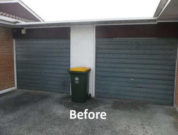 Garage door before repairing