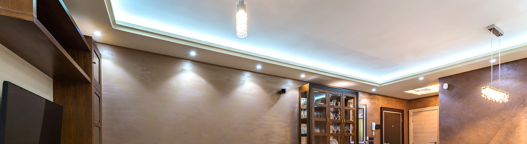 LED light fitted false ceiling