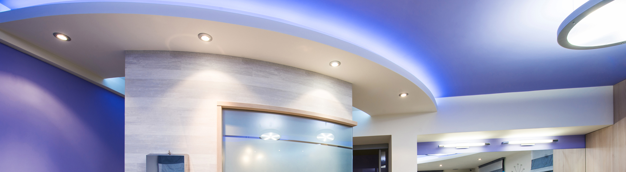 LED light fitted false ceiling of a commercial space