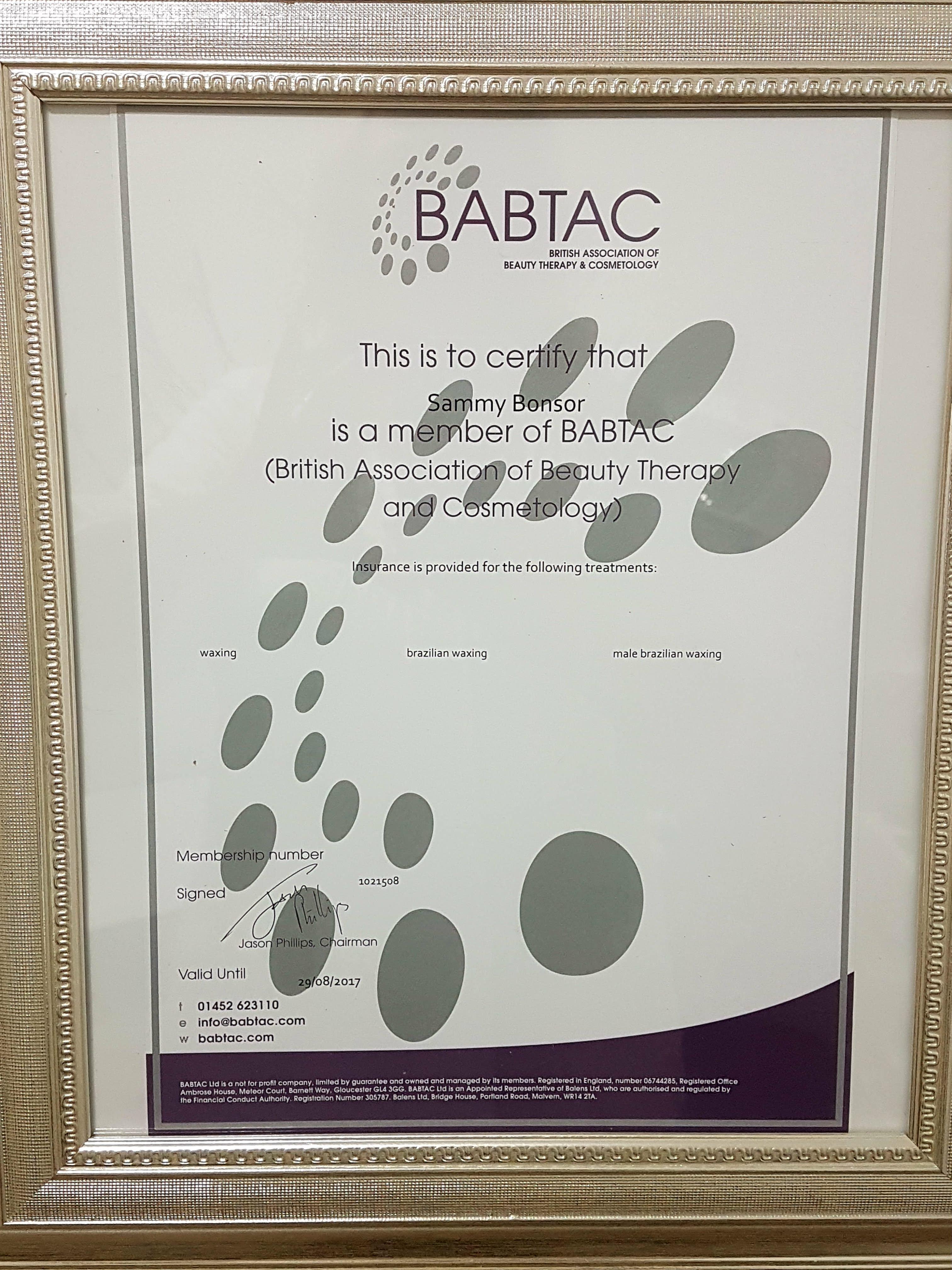 BABTAC certificate