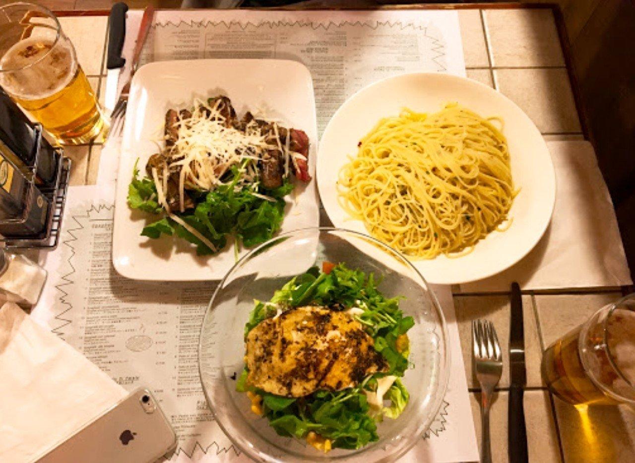 pasto con secondo di carne e contorno di verdure