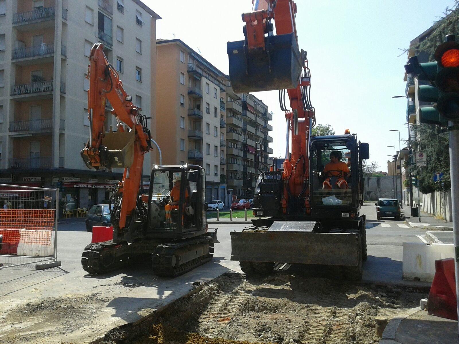 preparazione scavi in centro citta