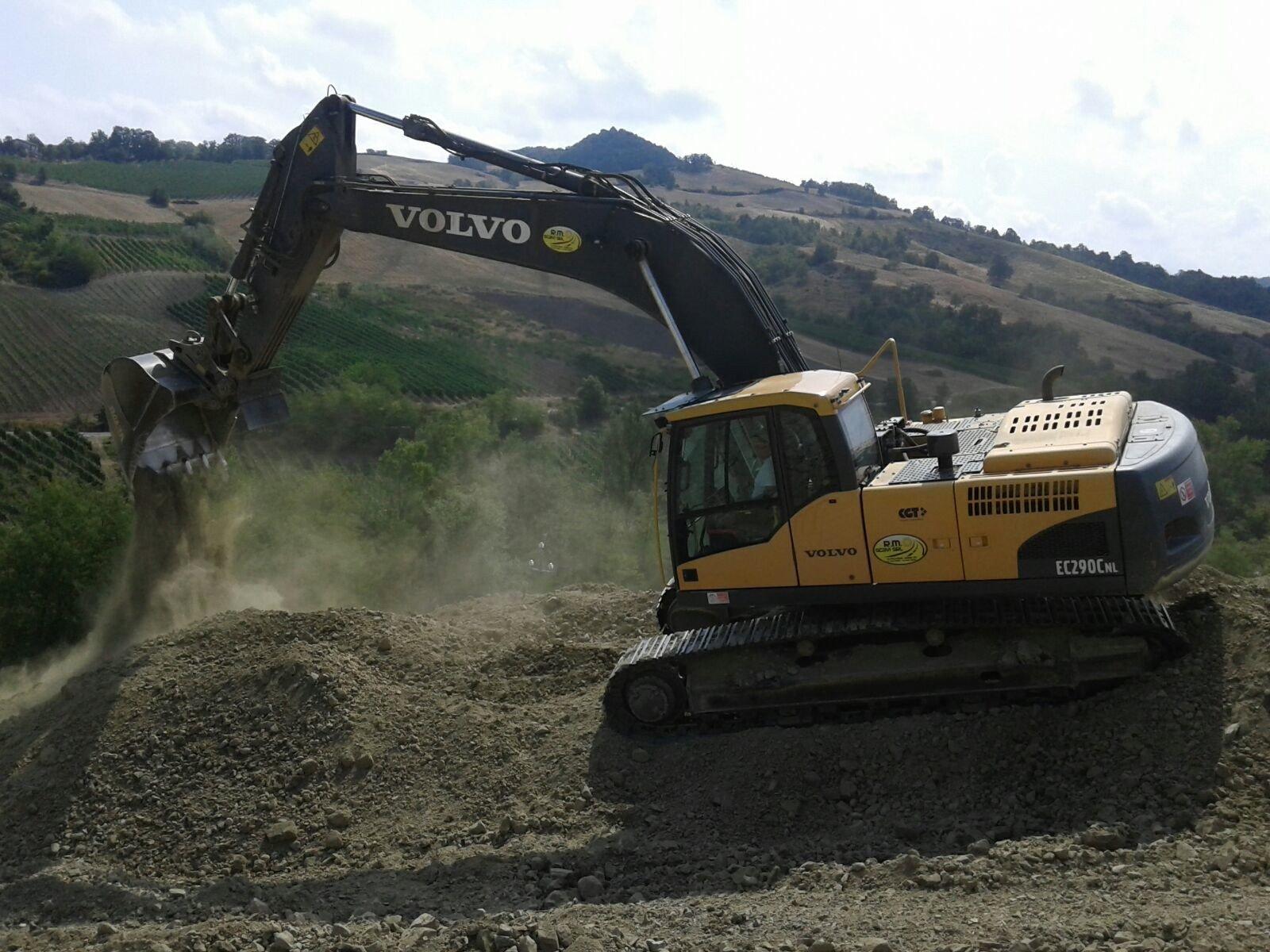 gru durante uno scavo
