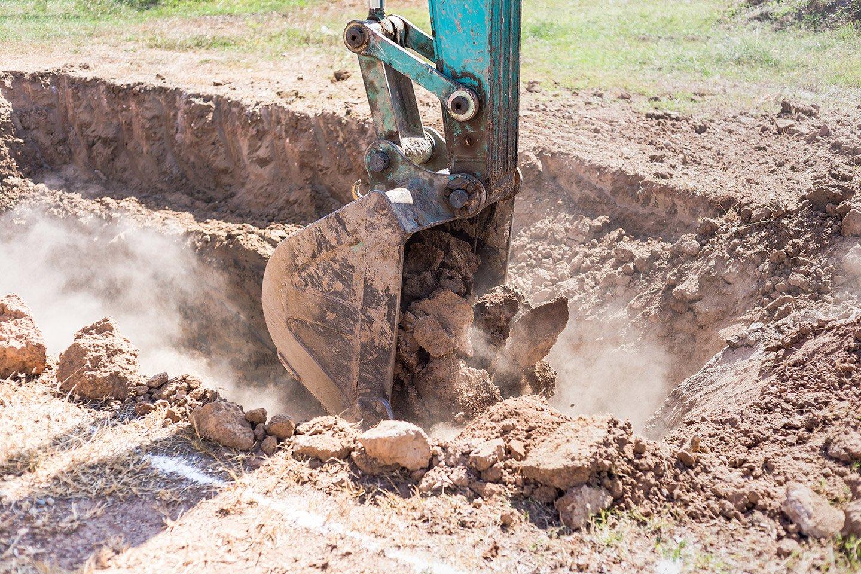 vista di scavi terreno in un cantiere