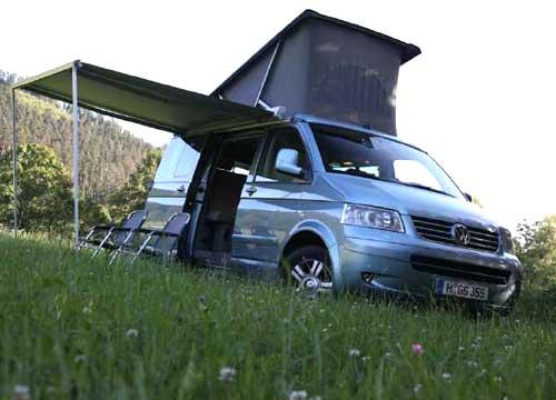 A van with a tent top