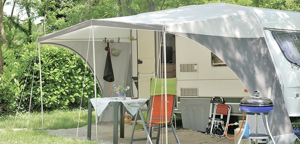 trailer and tent
