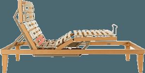 vista laterale di un letto ortopedico in legno elettrico-Ergogreen