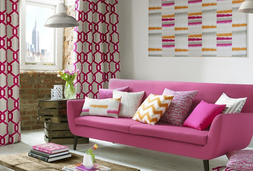 pink coloured sofa