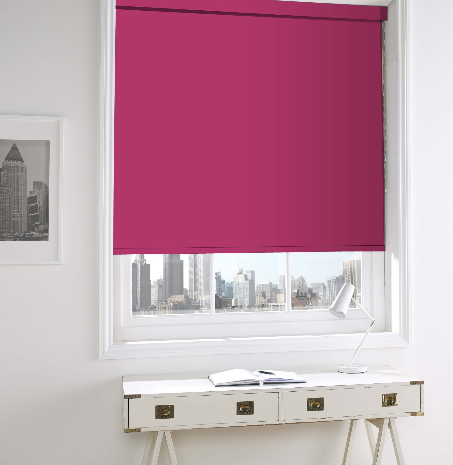 pink coloured blinds