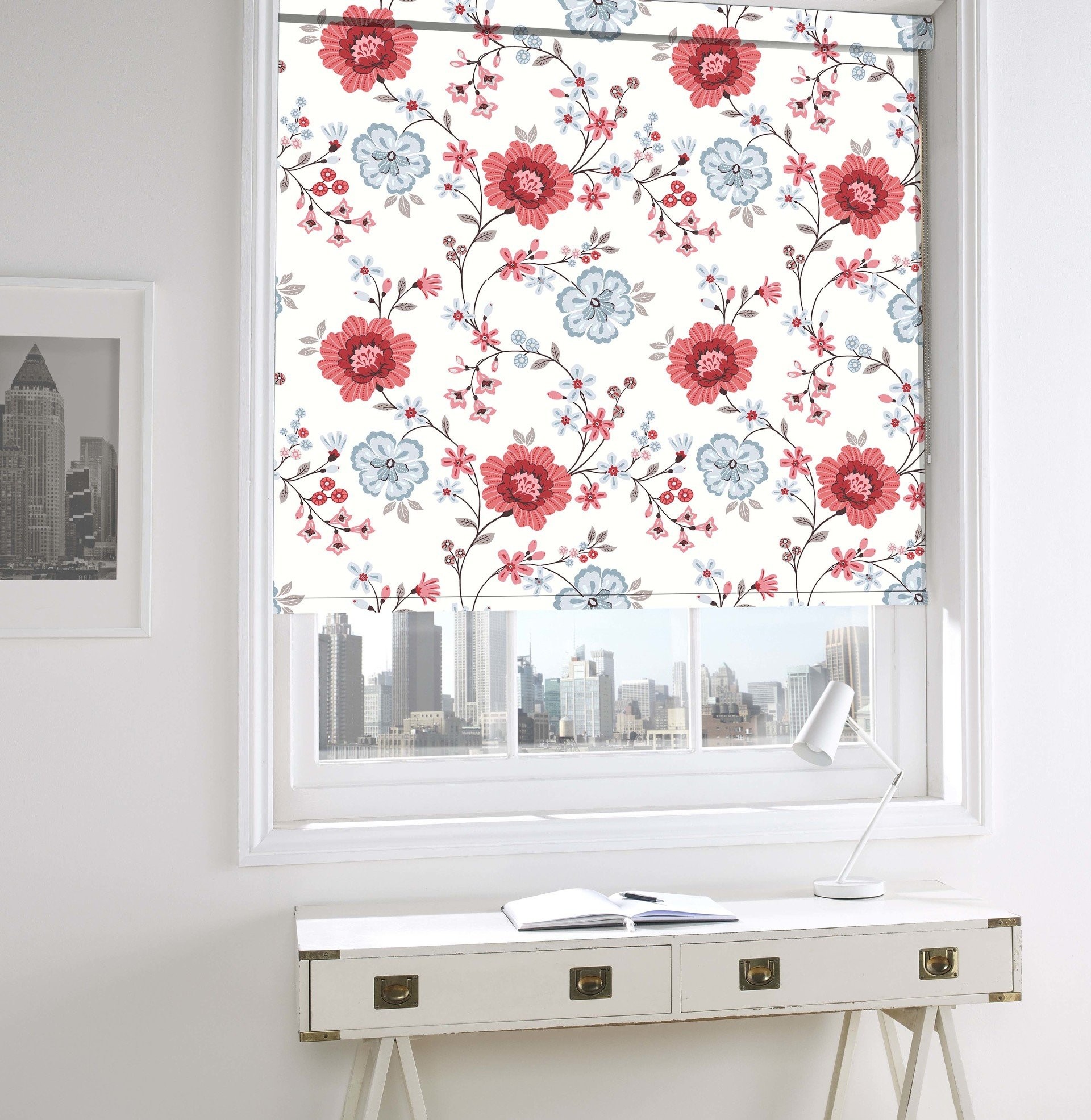 red floral printed blinds