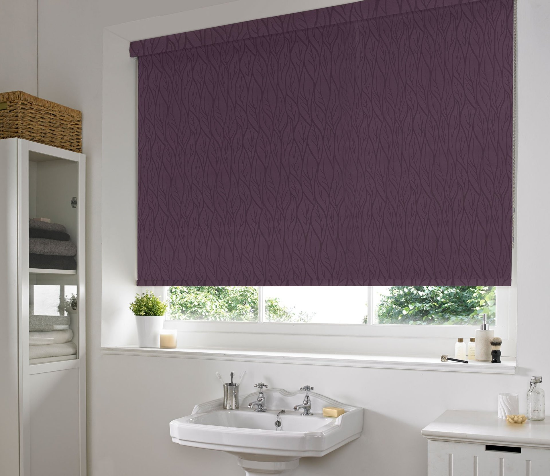 purple coloured blinds