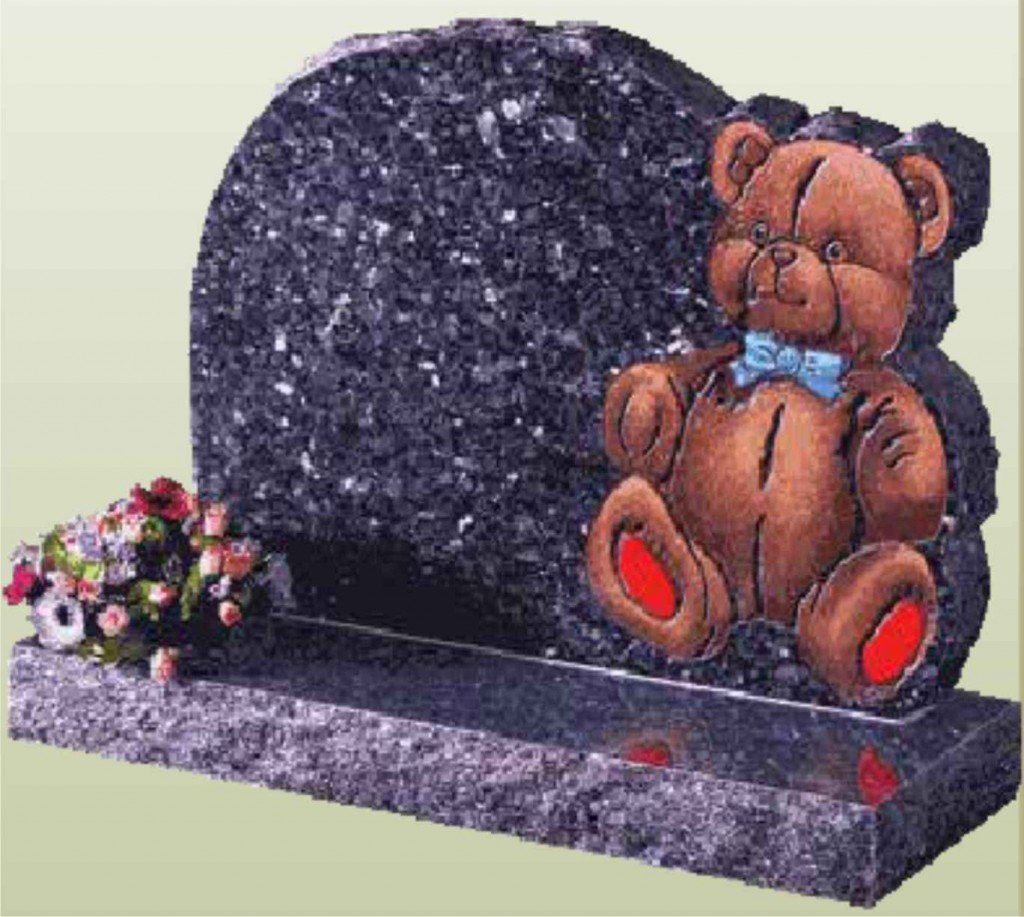 memorial with teddy bear inscribed