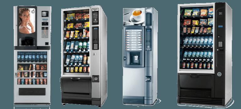 Distributori automatici di bevande, caffè e snacks.