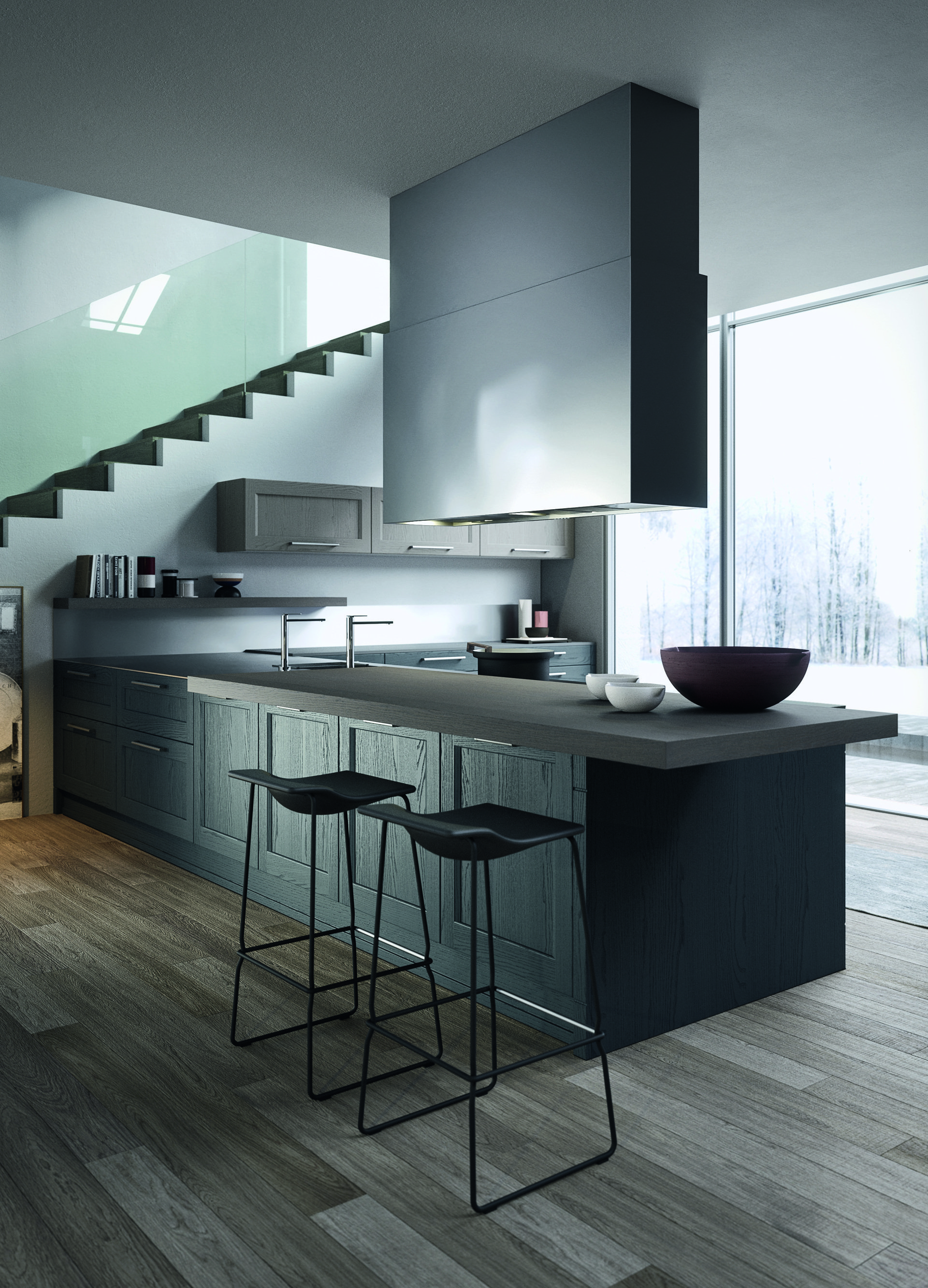 Cucina in legno moderna con isola