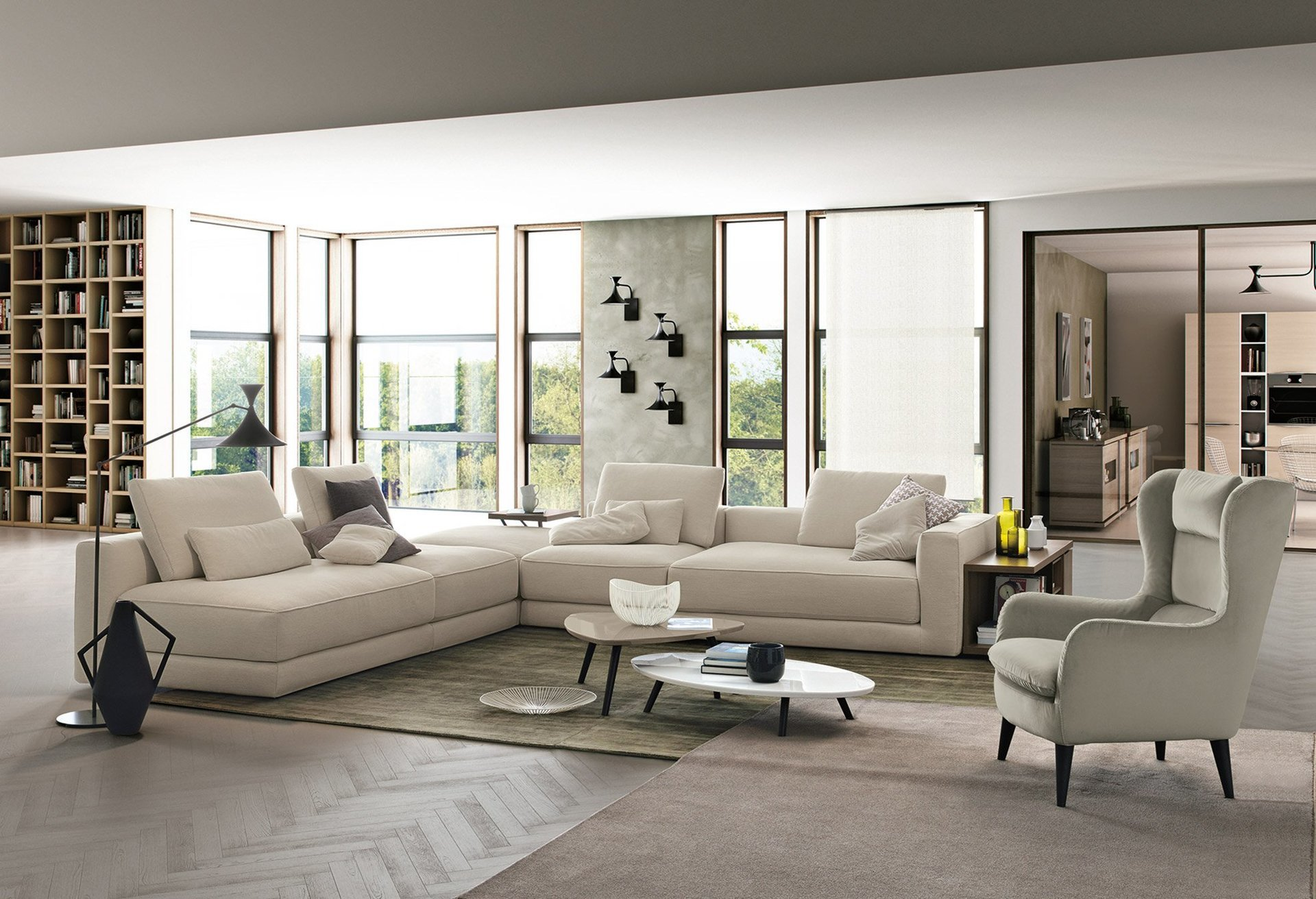 soggiorno con divano angolare