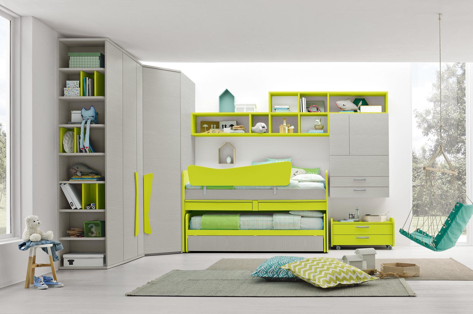 cameretta a tonalità verde
