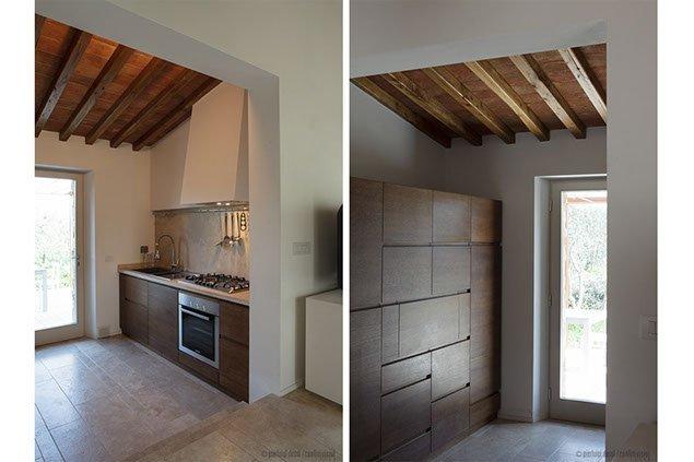 cucina in legno, travi in legno a vista