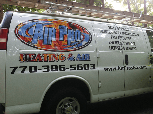 Service van for Air Pro Heating & Air