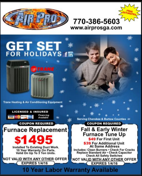Furnace Replacement coupon for $1495