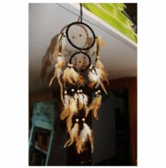 Un acchiappasogni con piume e rete appeso