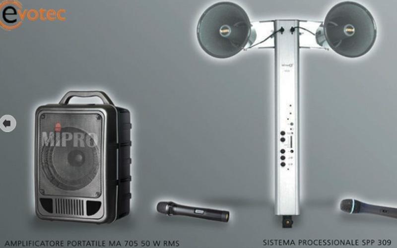 Amplificatore portatile e sistema processionale