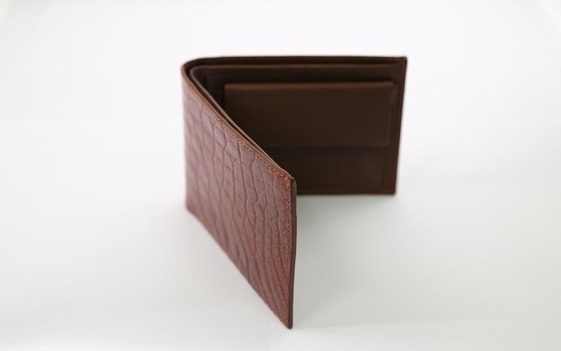 brown croccodile wallet