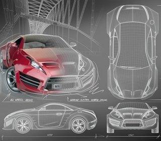 Disegni in 3D della carrozzeria di un'auto