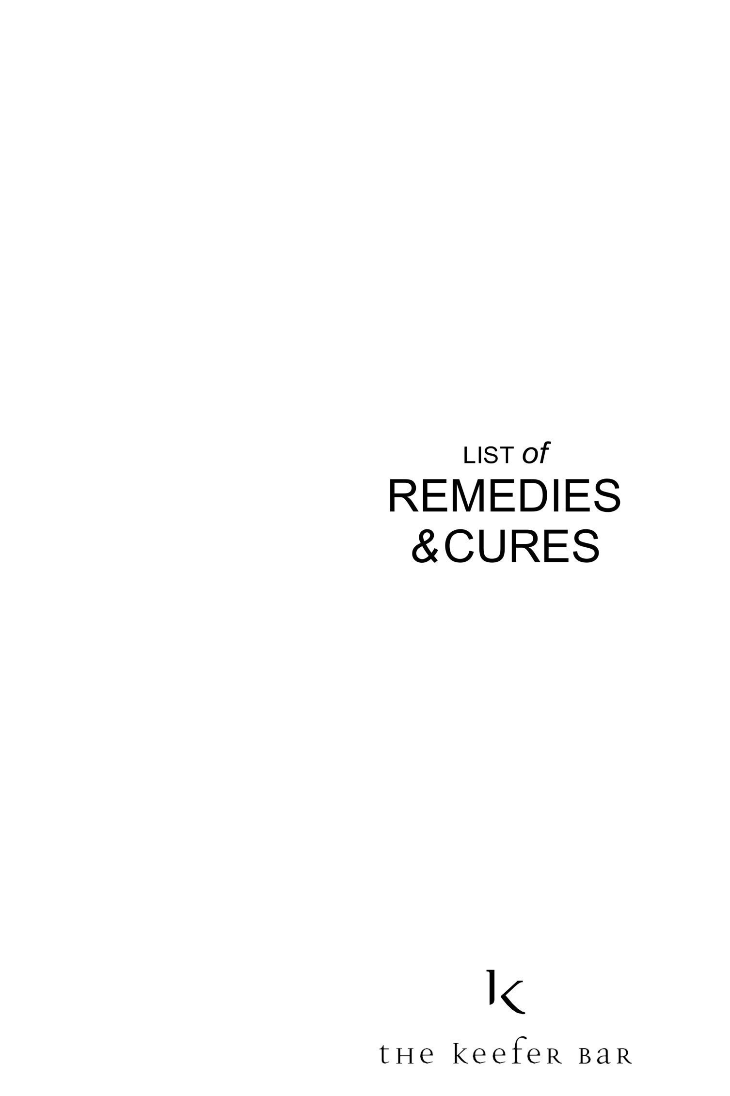 List of remedies & cures