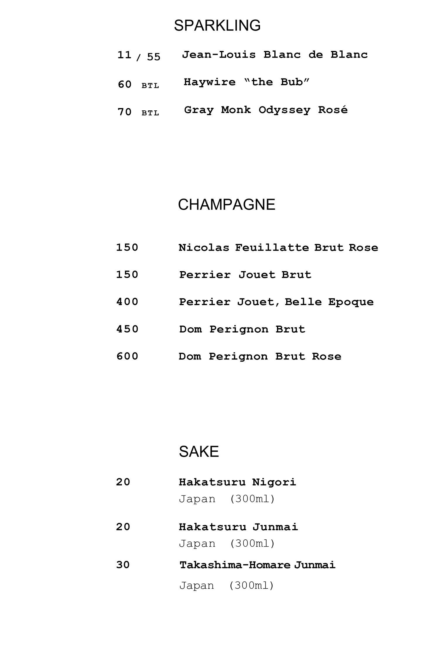 Wine list continued