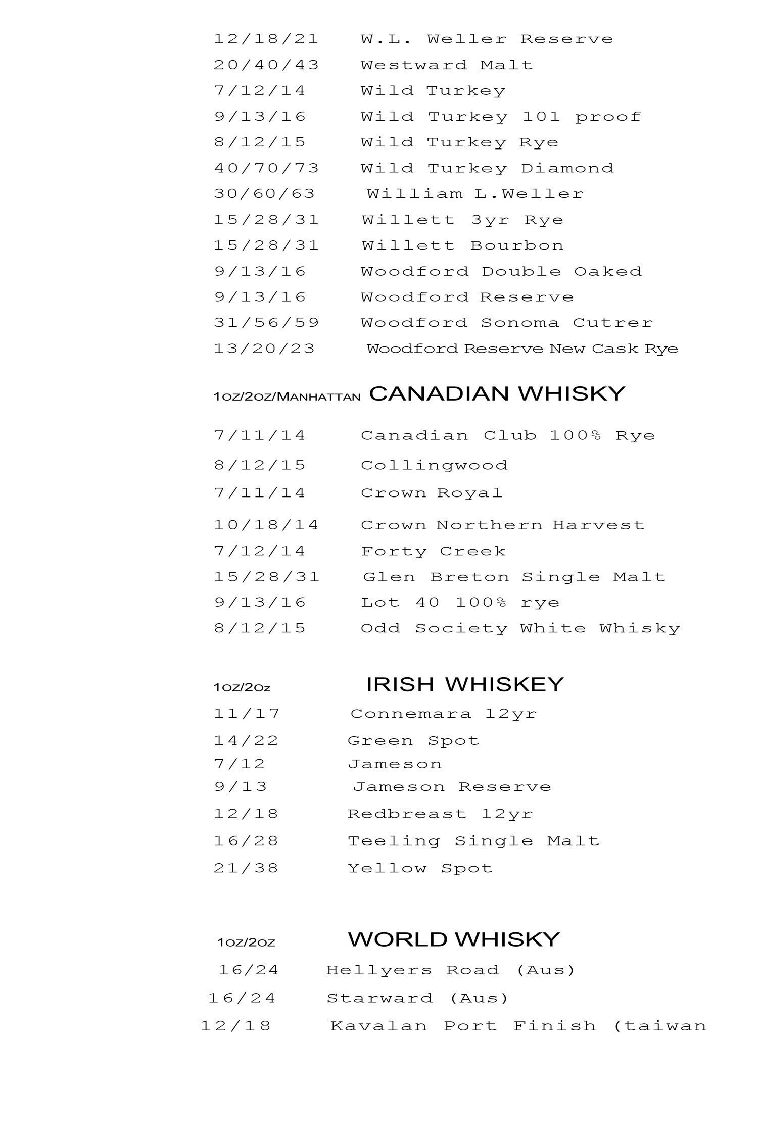 Whiskey list continued