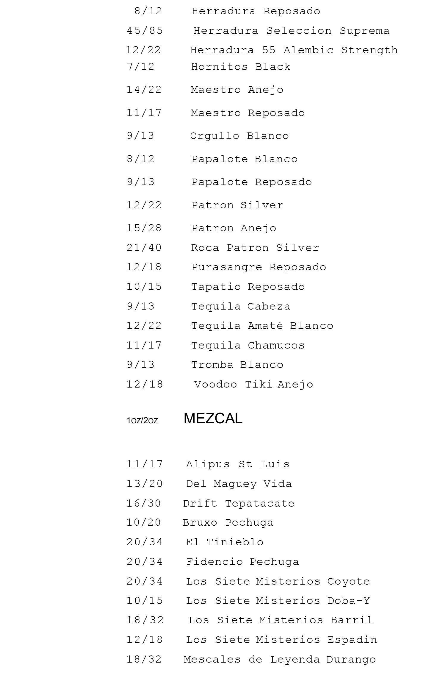Mexcal list