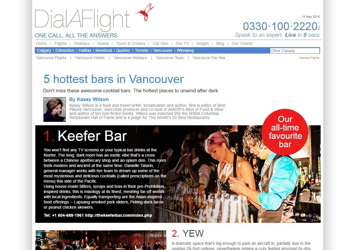 Dial A Flight's article on the Keefer Bar