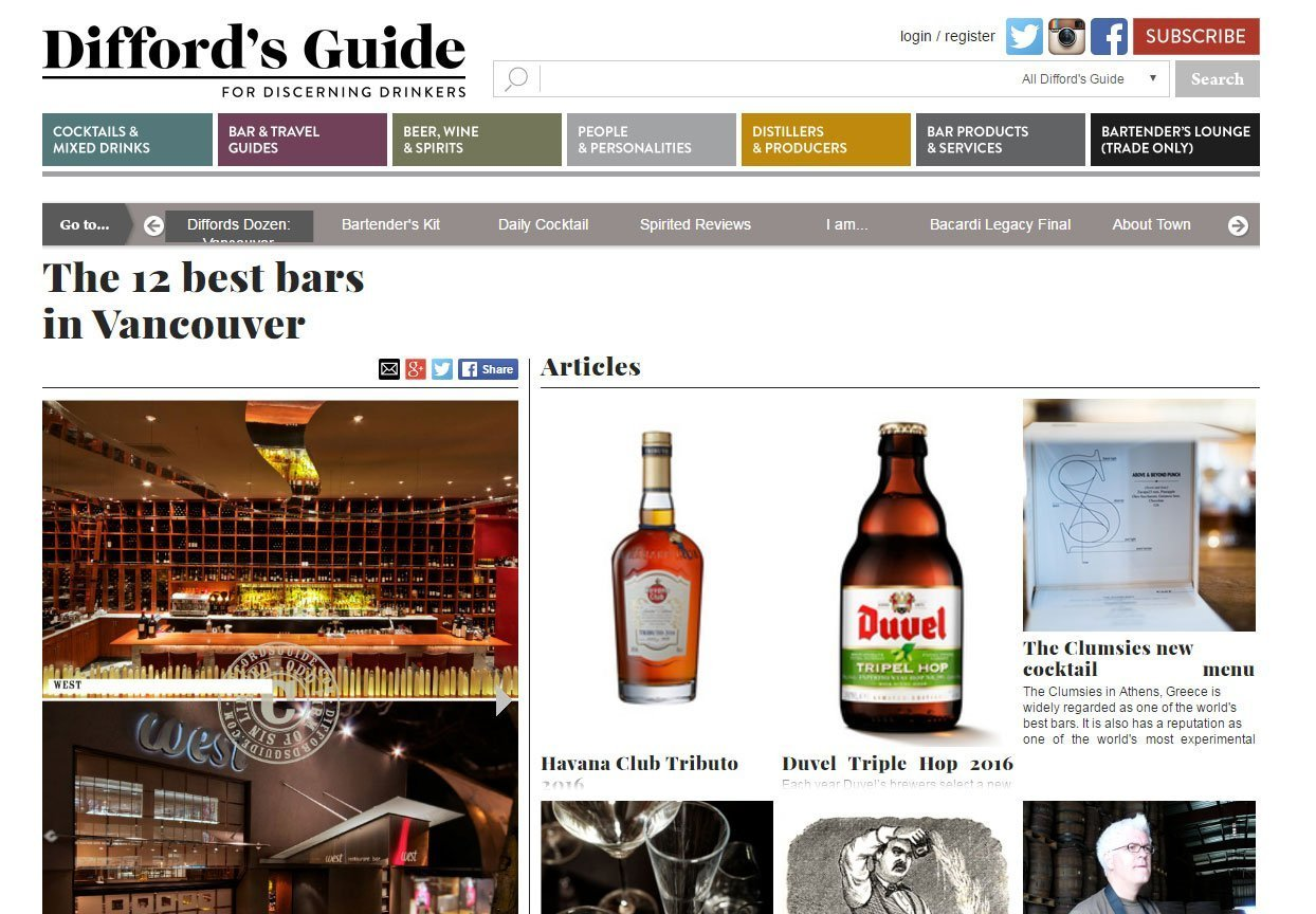 Difford's Guide Keefer Bar article