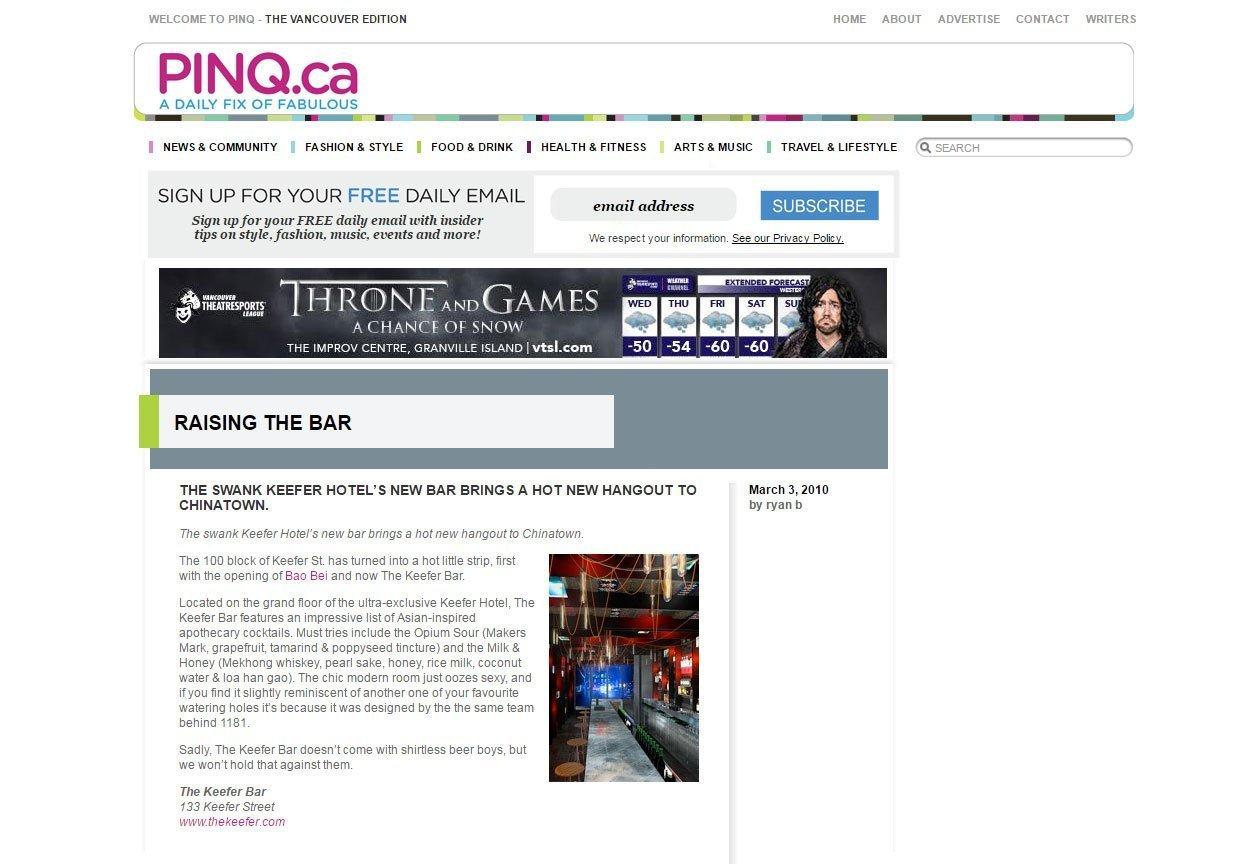Pinq's bar article