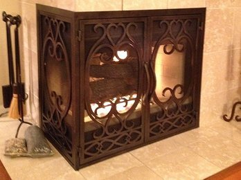 L Shaped Fireplace Door