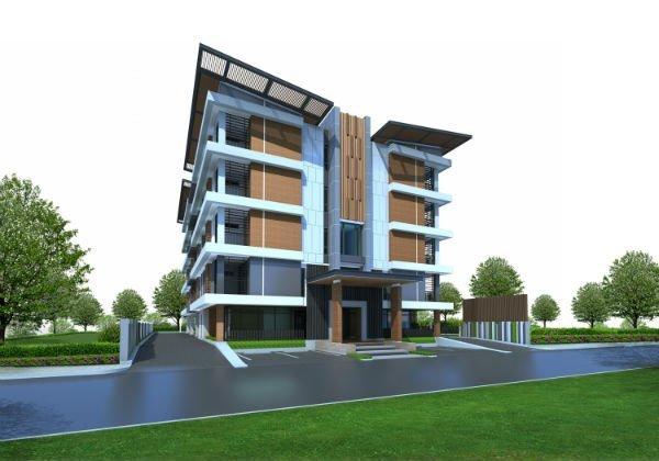Un disegno di un condominio moderno