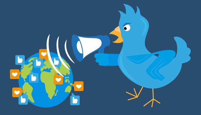 Twitter Bird with Microphone Symbolizing Social Media Marketing
