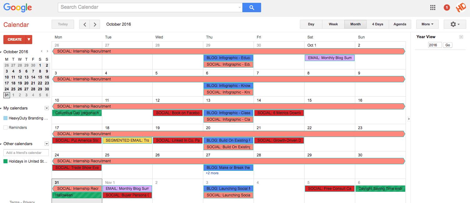 example of google calendar as a content calendar