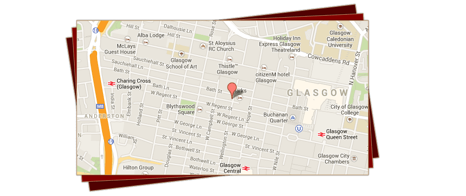 Italian restaurant - Glasgow - Fratelli Sarti - Location Map